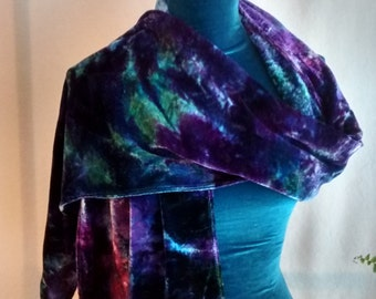 Ice dyed Velvet Scarf in Purple Violet Indigo and Green 13x68 Clymene lg1