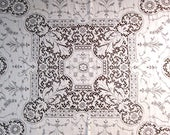 """Reserved Quaker Lace Tablecloth Vintage White Table Linens 46"""" Square Table Cloth Shabby Chic Cottage Decor Antique Lace Dining Table"""