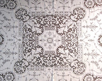 Antique Tablecloth Vintage White Linens Italian Needlelace