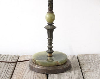 Green Stone Onyx Art Deco Table Lamp