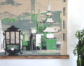 San Fransisco Hanging Silkscreen Textile Wall Art