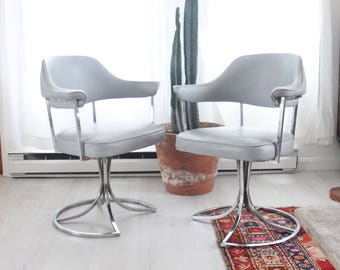 Chrome Swivel Tulip Base Chairs Dining Desk Milo Baughman Style