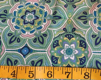 Half Yard of Green Medallion Fabric