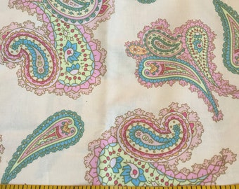 One Yard of Pink and Cream Paisley Fabric
