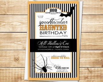 DIGITAL Spooktacular Haunted Invitation for Halloween Party - Vintage Stripes with Haunted Bats and Spiders in Black, Orange and White