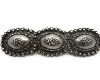 Boho Jewelry Silver Tribal Brooch - Vintage Etruscan Revival Ethnic