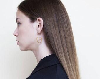 Minimalist Gold U Shape Earrings, 24K Gold Plated Brass Elegant Earrings, 24K Gold Plated Silver Dangle Earrings, Handmade Hook Earrings