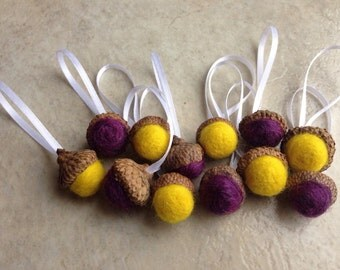 12 wool felted acorn ornaments purple and yellow
