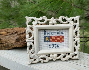 AMERICA 1776 Framed Cross Stitch Picture Americana Home Decor