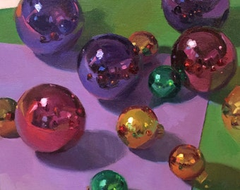 """Art painting still life christmas ornaments purple and green """"All That Glitters"""" by Sarah Sedwick 10x10"""""""