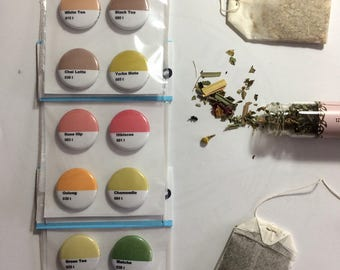 TEA Pinback Buttons // Colorful // Favourite Tea Types // Pack of 4