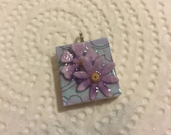 Scrabble Tile Pendant Necklace Light Blue and Purple Flowers Party Favors Teacher Gift Birthday Gift