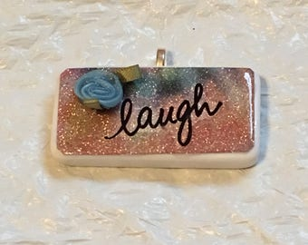 Laugh Blue Rose on Glitter Tie Dye Handmade Domino Pendant Necklace Stocking Stuffer, Birthday Gift, Secret Santa