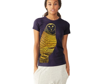 Owl Graphic Tee - T shirt for Women -  Gold Owl - Feather Bird Shirt Print - Woodland Animal Bird