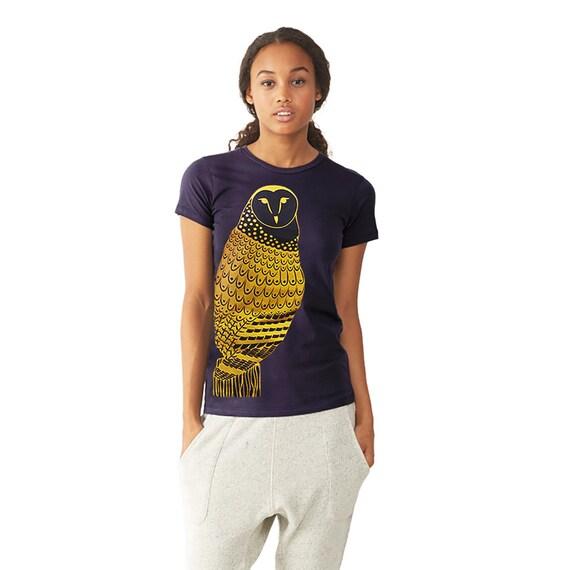 Owl Graphic Tee - T shirt for Women -  Gold Owl - Feather Bird Shirt Print - Woodland Animal Bird