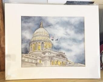 Boise Idaho Capital Watercolor Print