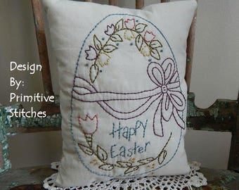 Happy Easter Egg-Primitive Stitchery  E-PATTERN by Primitive Stitches-Instant Download