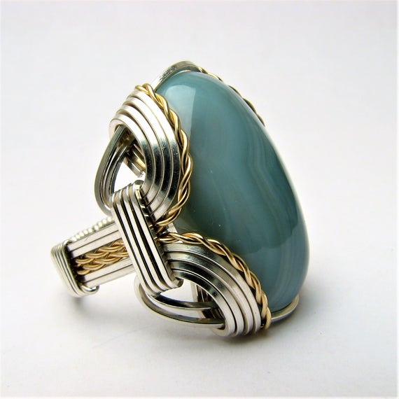 Handmade Wire Wrap Two Tone Sterling Silver/14kt Gold Filled Green Sardonyx Ring