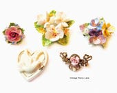 Vintage Porcelain Brooch / Pin Lot, Fine Bone China Flowers