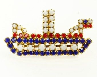 Vintage Patriotic Rhinestone Steam Boat Brooch Red White & Blue