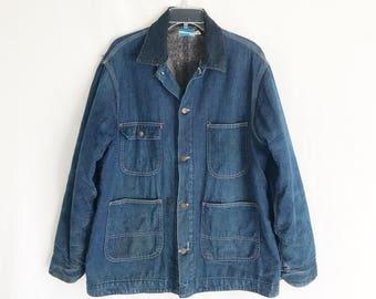 Vintage 70's Denim Chore Coat. Size Men's Medium