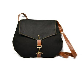 satchel • black waxed canvas crossbody bag • black industrial canvas - black waxed canvas - every day bag - cross body • black on black