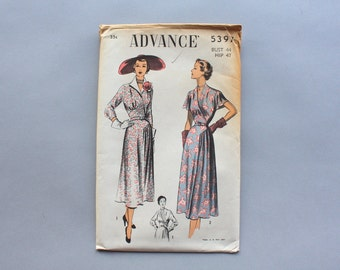 1940s Sewing Pattern / Vintage 50s Flutter Sleeve Hip Drape Dress Pattern / Advance 5397 Pattern XL bust 44 waist 38 Uncut FF