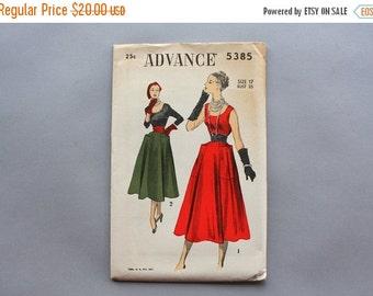 STOREWIDE SALE 1950s Dress Pattern / Vintage Sewing Pattern / Advance Full Skirt Sash Belt Pattern with Pockets Uncut FF 35 bust 28 1/2