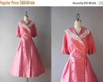 STOREWIDE SALE Vintage Silk Dress / 1950s Pink Wrap Dress with Hand Tatted Lace Collar / 50s 60s Silk Double Breasted Dress