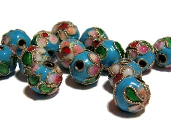 Cloisonne Beads Enamel Beads Turquoise color flower beads 8mm 14pcs