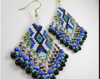 Native American Style Beadwork Fringe Seed Bead Earrings Dangle Chandelier in Blue Green, Black, White and Gold