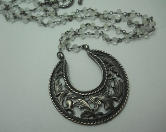 Silver Filigree  Crescent Moon Pendant on Glass Beaded Chain Artisan One of a Kind Jewelry Repurposed Necklace Unique Gift