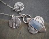 Charm Necklace, Sterling Necklace, Sapphire Necklace, Cluster Necklace, Bluestem Prairie Grass Necklace, Kansas Necklace