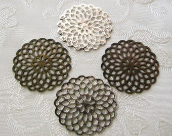 Round Filigree Coins Antique Bronze Copper Silver 20mm Mix and Match 518