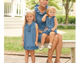 Monogrammed Chambray GIrl Outfit