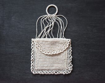 Antique Crochet Coin Purse, Vintage Drawstring Purse, Crochet Purse, Chatelaine Purse, Antique Drawstring Pouch, Crochet Pouch