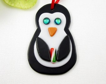 Penguin Ornament - Glass Penguine Christmas Ornament - Black and White Glass Christmas Ornament - Bird Ornament