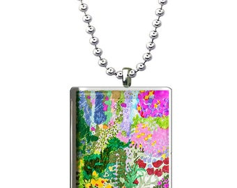 Colorful Hand Made Glass Floral Pendant, Flower Necklace, Unique Art Affordable Jewelry