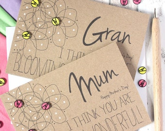 Personalised Mothers Day Card. Mother's Day Card. Personalized. Card for Mom. Mom's Day card. Flower. Floral card. Unique Mothers Day Card