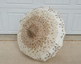 Vintage Brown Tan Fabric Rain Umbrella Parasol Flared Pointed Top