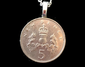 England Foreign Money Necklace 5 Pence