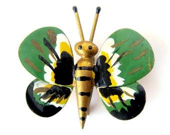 Vintage Painted Enamel Butterfly Brooch / Butterfly Pin / Vintage Jewelry / Green Butterfly