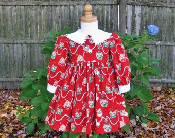 Toddler girl Red Christmas dress Size 1T Ready to ship Cats and kittens Long sleeves Holiday dress OOAK White collar Handmade Whimsical cat
