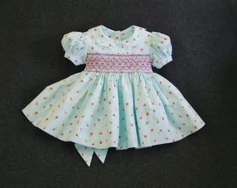 Size 6Mo, Baby girl, Smocked dress, Pink rosebuds, Aqua dress, Easter, Ready to ship, Party dress, Infant dress, Heirloom, OOAK, Baby shower