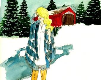 Winter In Vermont Fashion Illustration Print