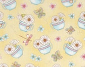 1 FQ ~ 1/2 Yard ~1 Yard ~ Daisies In A Teacup Yellow ~ Peaceful Pastimes Henry Glass Collection, Cotton Quilt Fabric