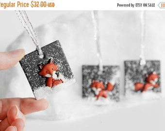 Fox Christmas Ornaments. Holiday Gift Handmade Clay Ornaments with Glitter.Unique, Fun Gift Idea. Perfect Gift for Foxy Fox Lovers. Set of 3