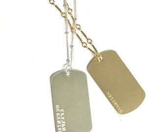 Dog Tag Personalized Necklace, Long Necklace, Custom Name Necklace, Personalized Jewelry, Gift for Her, Silver or Gold Necklace