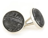 ON SALE - Meteorite Cuff Links made with Sterling Silver Links, Personalized Meteorite Wedding Accessories