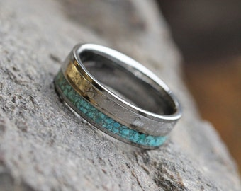 Crushed Turquoise Wedding Band, Gibeon Meteorite Ring With Titanium Pinstripe, Tungsten Ring